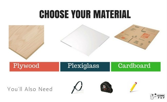 Image of Materials: Plywood, Plexiglass and Cardboard along with measuring tape and zip ties