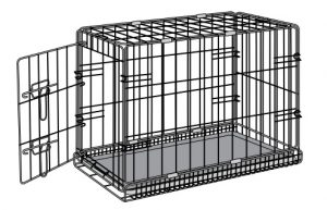 A black wire metal dog crate with a single door opened wide at the side