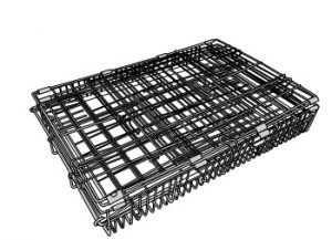 A wire metal dog crate flat packed